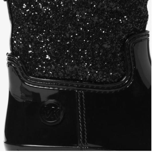 Michael Kors Mk Rainboots Bling Black with glitter style shaft Boots Image 5