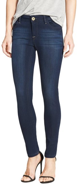 DL1961 Whiskering Low Rise Mid Rise Skinny Jeans-Dark Rinse Image 0