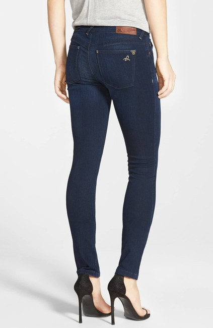 DL1961 Whiskering Low Rise Mid Rise Skinny Jeans-Dark Rinse Image 1