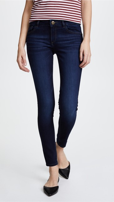 DL1961 Whiskering Low Rise Mid Rise Skinny Jeans-Dark Rinse Image 4