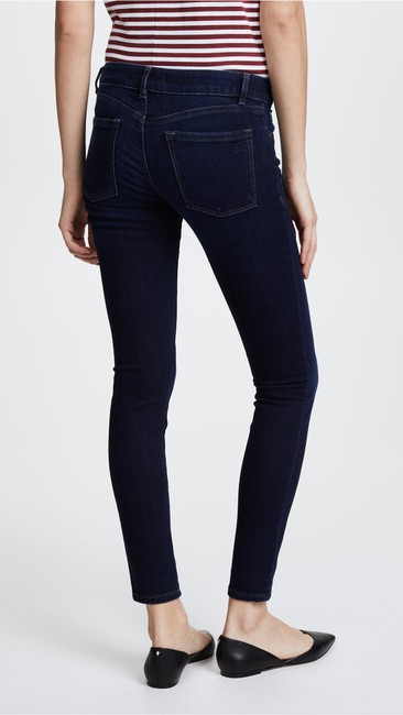DL1961 Whiskering Low Rise Mid Rise Skinny Jeans-Dark Rinse Image 6