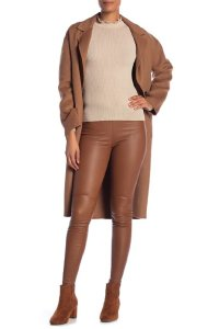 LAMARQUE Leather Stretch Legging Skinny Pants Brown