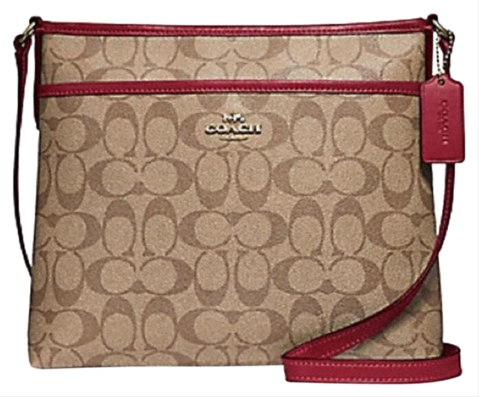 c8be4cbd80098 Coach File In Signature Khaki   Cherry   Light Gold Coated Canvas Cross  Body Bag