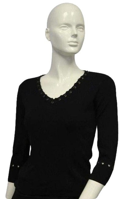 Preload https://img-static.tradesy.com/item/24925942/black-leather-lace-up-vee-neck-knit-small-blouse-size-6-s-0-1-650-650.jpg