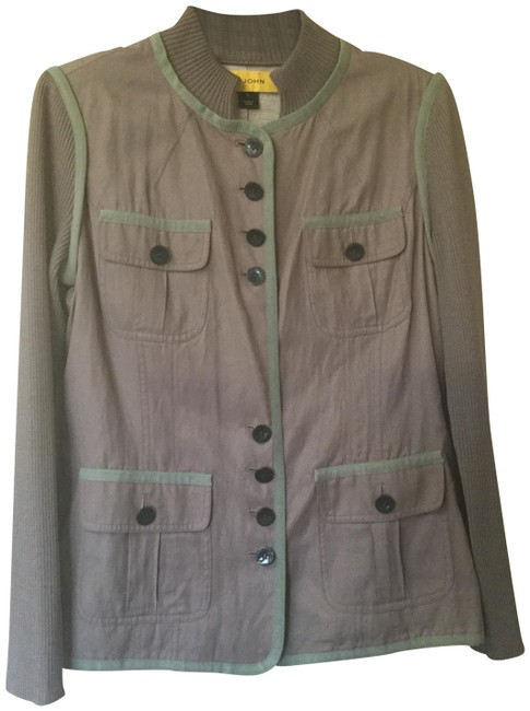 Item - Dove Gray Sports Jacket with Knitted Sleeves Pant Suit Size 6 (S)