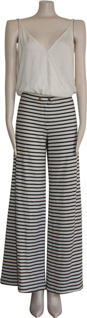Item - White Navy Blue Marine Striped Beach Lounge Knit Pants Size 6 (S, 28)