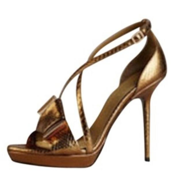 Item - Gold Prorsum Snakeskin Leather Heels Formal Shoes Size US 7 Regular (M, B)