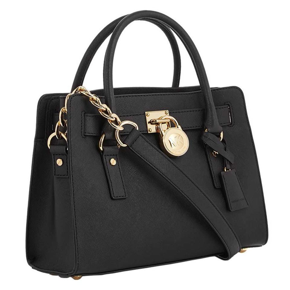 62f22f863502 Michael Kors Hamilton Medium Lock and Key New with Tags Black/Gold Hardware  Saffiano Leather Satchel