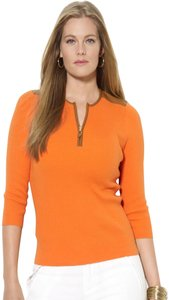 Lauren Ralph Lauren Half Zip Placket Faux Leather Trim Allover Ribbed Print Contrast Fabric 3/4 Sleeves Sweater