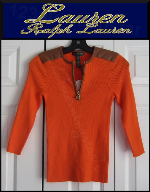 Lauren Ralph Lauren Half Zip Placket Faux Leather Trim Allover Ribbed Print Contrast Fabric 3/4 Sleeves Sweater Image 1