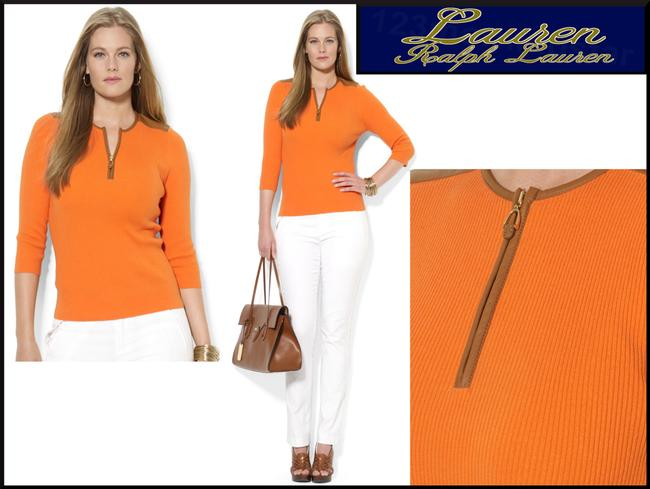 Lauren Ralph Lauren Half Zip Placket Faux Leather Trim Allover Ribbed Print Contrast Fabric 3/4 Sleeves Sweater Image 2