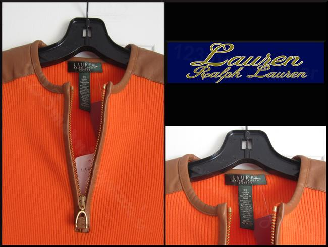 Lauren Ralph Lauren Half Zip Placket Faux Leather Trim Allover Ribbed Print Contrast Fabric 3/4 Sleeves Sweater Image 3