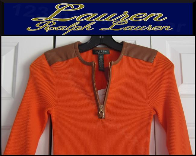 Lauren Ralph Lauren Half Zip Placket Faux Leather Trim Allover Ribbed Print Contrast Fabric 3/4 Sleeves Sweater Image 7