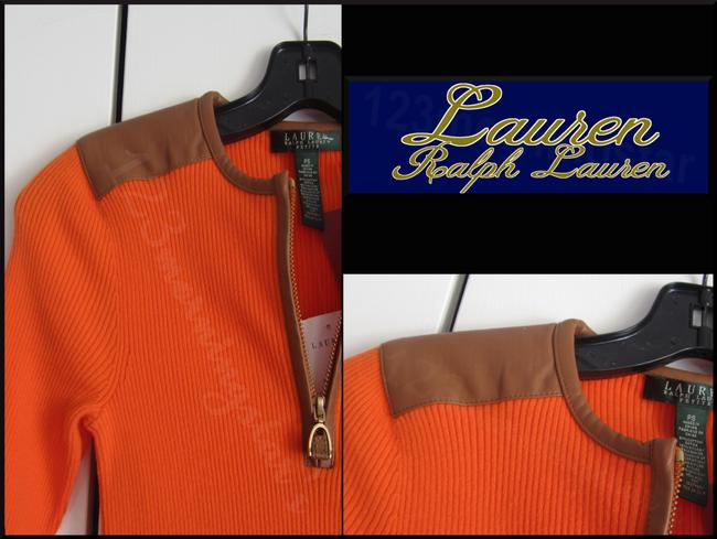 Lauren Ralph Lauren Half Zip Placket Faux Leather Trim Allover Ribbed Print Contrast Fabric 3/4 Sleeves Sweater Image 8
