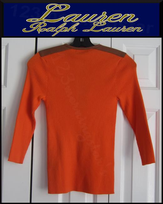 Lauren Ralph Lauren Half Zip Placket Faux Leather Trim Allover Ribbed Print Contrast Fabric 3/4 Sleeves Sweater Image 9