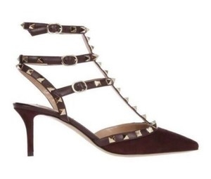 Valentino Studded Pointed Toe Leather Ankle Strap Stiletto burgundy Pumps