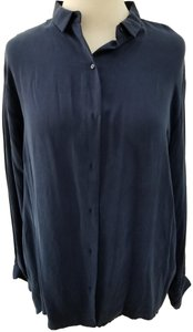 Zara Cupro Blouse Button Down Shirt Blue