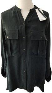 Zara Cupro Blouse Button Down Shirt Black