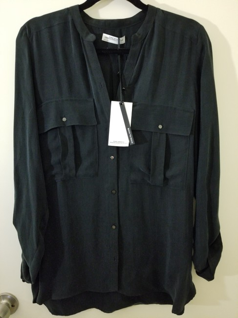 Zara Cupro Blouse Button Down Shirt Black Image 1