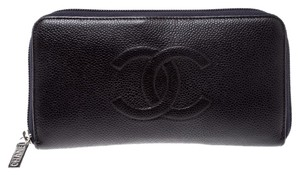 Chanel Purple Leather Timeless L Gusset Zip Around Wallet