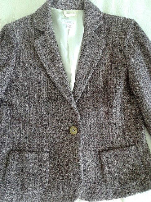 Barneys New York Wool Elegant Single Brested Longsleeve dark purple Blazer Image 1
