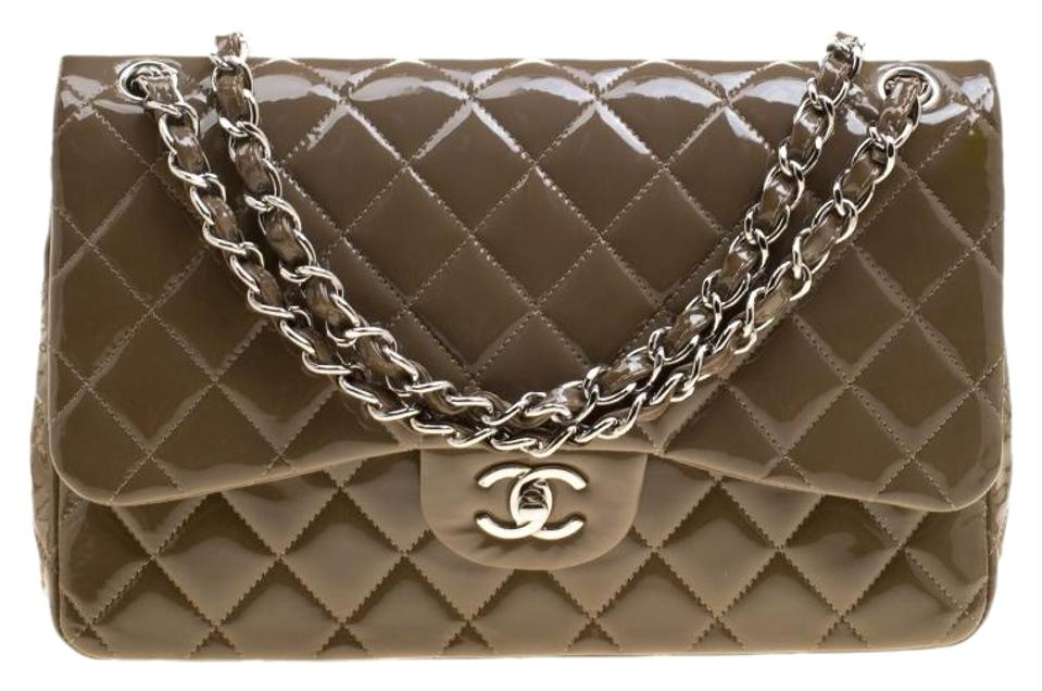 deca35c9ec7f Chanel Classic Flap Khaki Quilted Jumbo Classic Double Brown Patent ...