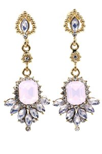 Ocean Fashion Pink elegant pendant crystal golden earrings