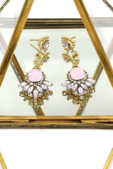 Ocean Fashion Pink elegant pendant crystal golden earrings Image 2