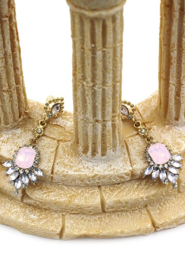 Ocean Fashion Pink elegant pendant crystal golden earrings Image 3