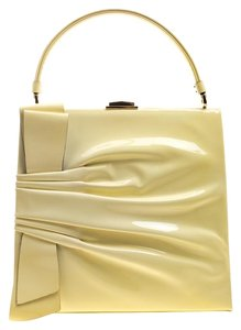 Valentino Patent Leather Satin Tote in Yellow