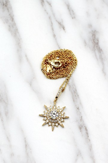 Ocean Fashion Gold shiny star crystal necklace Image 3