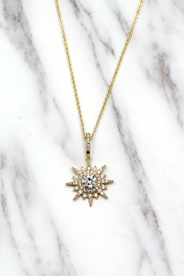 Ocean Fashion Gold shiny star crystal necklace Image 4