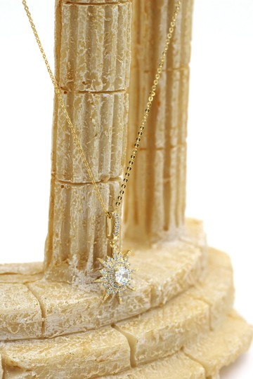 Ocean Fashion Gold shiny star crystal necklace Image 5