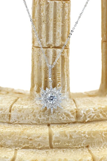Ocean Fashion Sterling silver shiny star crystal necklace Image 2