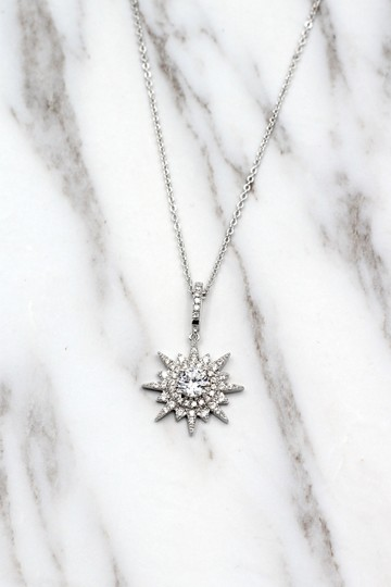 Ocean Fashion Sterling silver shiny star crystal necklace Image 4