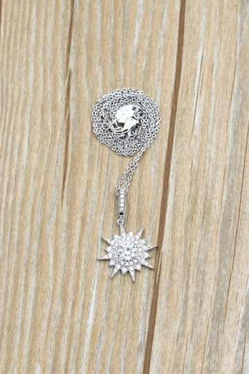 Ocean Fashion Sterling silver shiny star crystal necklace Image 7