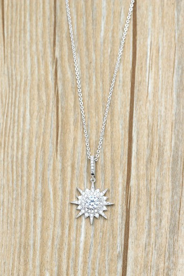 Ocean Fashion Sterling silver shiny star crystal necklace Image 8