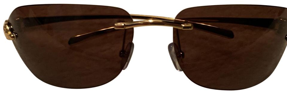 df38b68ec9 Cartier Brown and Gold Tiger Rimless Sunglasses - Tradesy