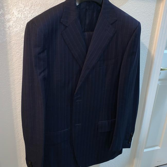 Canali navy blue stripped suit pants Image 1