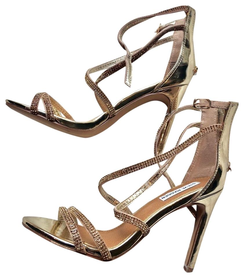 f24b4d0752d Steve Madden Gold Nwot Strappy Heels Jewels Bedazzled Formal Shoes ...