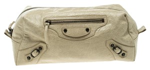 Balenciaga Beige Leather Cosmetic Pouch