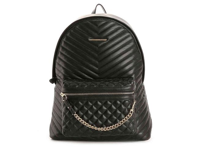 Item - With Attached Wallet Black Quilted Leather/Gold Backpack