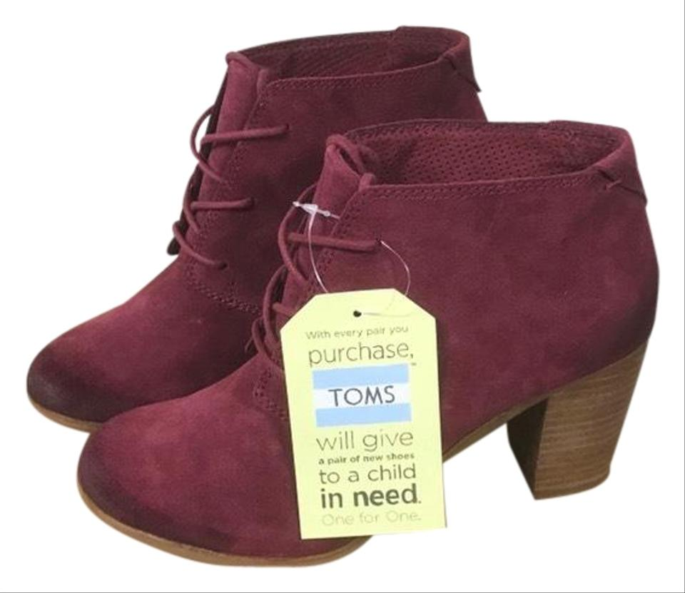 be2e394f491 TOMS Oxblood Burnished Suede Lunata Lace Boots Booties Size US 8.5 ...