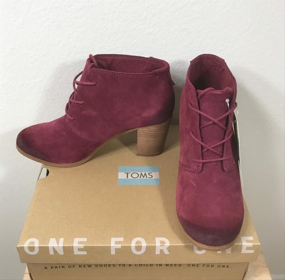 09ddcbe4804 TOMS Oxblood Burnished Suede Lunata Lace Boots Booties Size US 8.5 Regular  (M