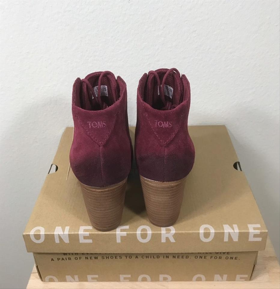 0b229a80b02 TOMS Oxblood Burnished Suede Lunata Lace Boots Booties Size US 8.5 ...