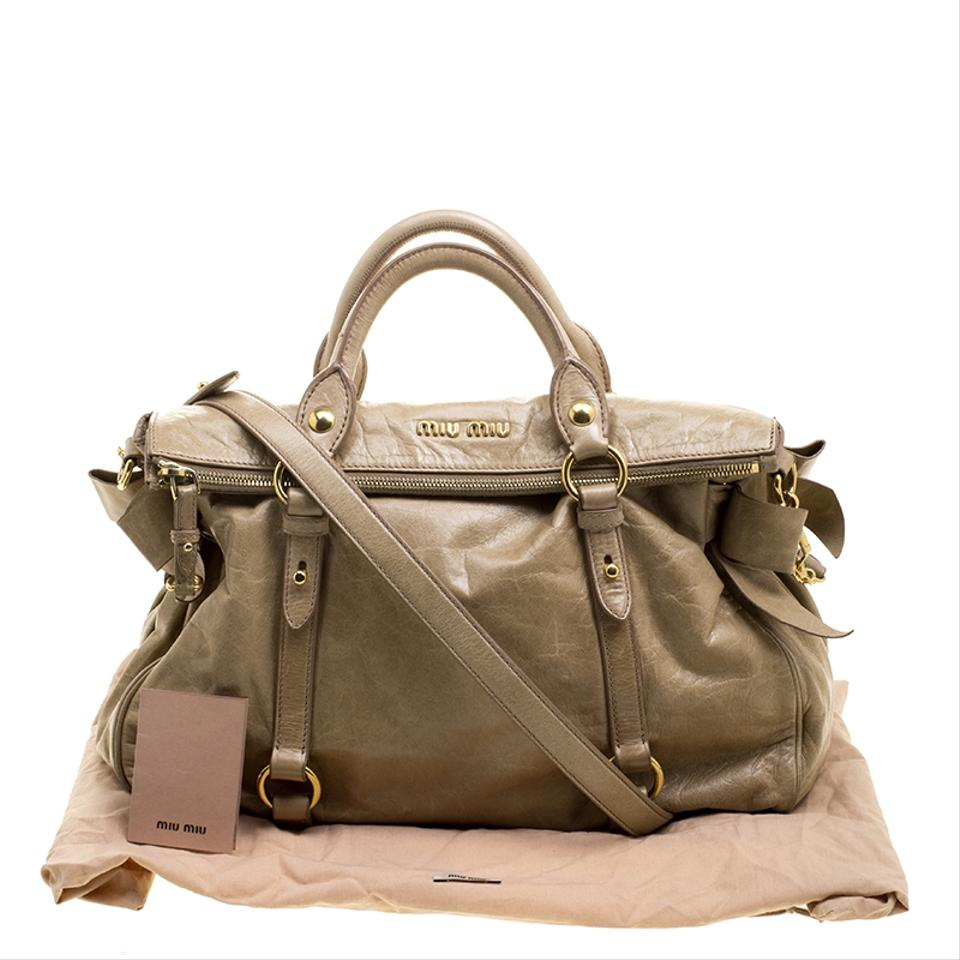 Miu Miu Glazed Beige Leather Tote - Tradesy