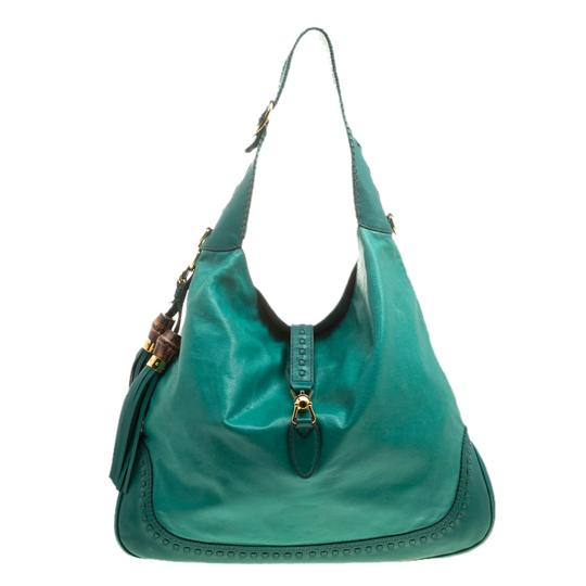 aebc22119503 Gucci Jackie Large Green Leather Shoulder Bag - Tradesy
