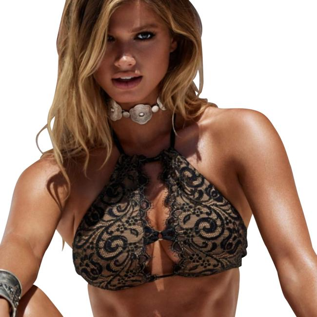 Item - Black Lace with Gold Woven Detail. Gunpowder and Neck Halter Bikini Top Size 8 (M)