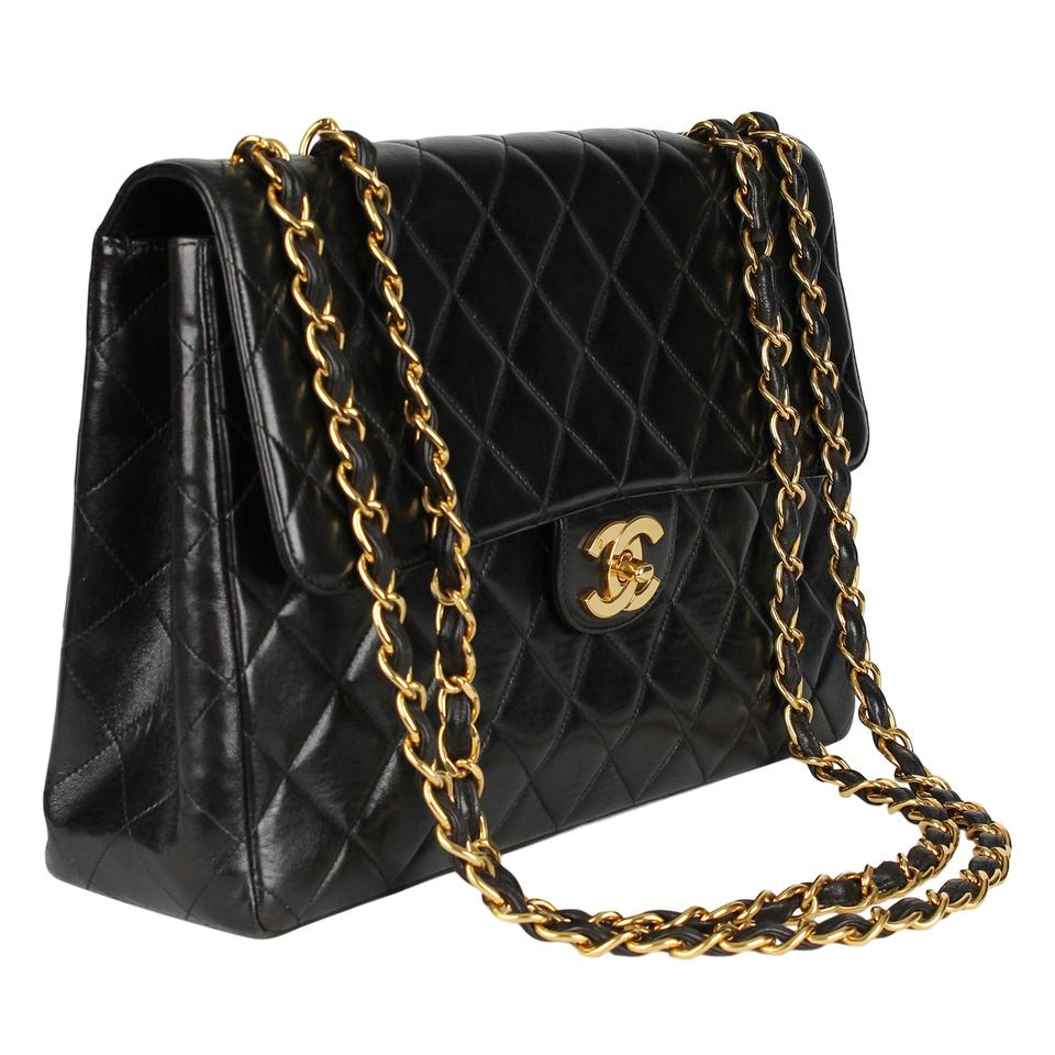 de4e7ffbf75241 Chanel Classic Flap Jumbo 30 Quilted Matelasse 7098 Black Lambskin Leather  Shoulder Bag - Tradesy