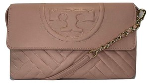 Tory Burch Shoulder Quilted Dark Pink Quartz Clutch